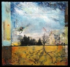 "Andrea Bird | Present | encaustic collage (rusted metal, roots, flower petals, dictionary page, photo transfer), 11""x11"" /sm"