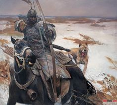 """(Unknown title) by artist Wang Kewei. His paintings are dedicated to riders era of the """"dark ages"""" in China and battle scenes."""