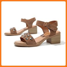 Roman Retro Rivet Sandals/One Word Buckle Leather Thick With High Heels-B Foot length=23.3CM(9.2Inch) (*Partner Link)