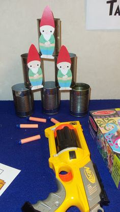 shoot the gnome down game with nerf gun  use zombies?