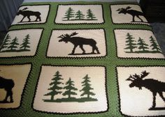 crochet moose blanket