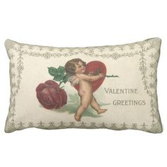 Vintage Valentine Victorian Angel Cupid Rose Heart Throw Pillows Artwork designed by YesterdayCafe. Made by Zazzle Home in San Jose, CA.