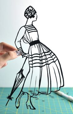 Hand-cut paper silhouette french dress