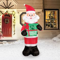 Santa with Christmas Countdown Clock Christmas Airblown. Welcome in the 2018 Christmas Season with this 7 Foot Santa Counting Down with You How Many Days Left to Christmas. Santa Countdown, Countdown Clock, Christmas Countdown, Christmas Fun, How Many Days Left, Outdoor Christmas Decorations, Holiday Decor, Christmas Inflatables, Seasons