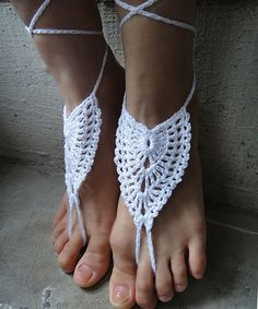 Another great find on #zulily! White Crochet Barefoot Sandals by Tina Crochet Studio #zulilyfinds