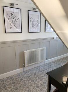 Tiled Hallway, Hallway Flooring, Modern Hallway, Grey Hallway, Dado Rail Hallway, Wainscoting Hallway, Entrance Hall Decor, Hallway Ideas Entrance Narrow, Stair Paneling