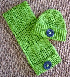 Simply Shoe Boxes: Button Up Crochet Scarf & Hat Pattern ~ Design by Elizabeth