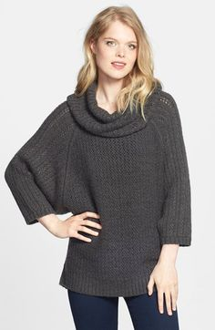 DKNYC Cowl Neck Mixed Stitch Sweater