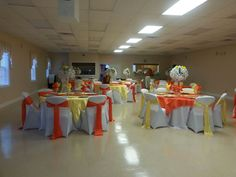 Yellow, orange and white set up for a prayer breakfast