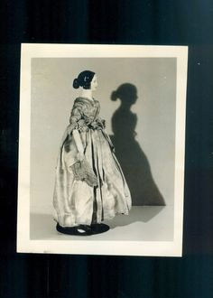 Rare Antique China Doll Photo with nice Shadow Unique Vintage Doll Image