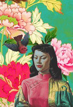 My Parys Tretchikoff Design 2 Art And Illustration, Illustrations, Kitsch, South African Art, Orient, Gravure, Collage Art, Flower Collage, Art Plastique