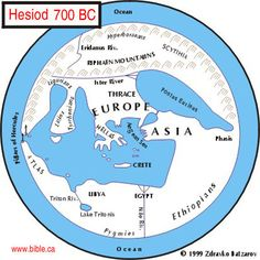 Hesiod 700 BC (Greek Poet) This is a map based directly upon the geographic understanding of the middle east by a Greek Poet named Hesiod who lived in 700 BC. Notice he has no understanding of the Red sea, or Israel for that matter. Poets Name, Alternative Earth, Red Sea, Cartography, Archaeology, Middle East, Geography, Astronomy, Israel