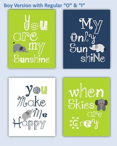 Elephant Art, You are my sunshine Lime Green and Navy Blue Art Prints, 4-8x10 prints, Matches Boy or Girl Nursery, nursery on Etsy, $55.00