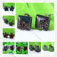1Pair Star/Heart/Round/Square Foil Dichroic Lampwork Glass Ear Earring Stud Gift