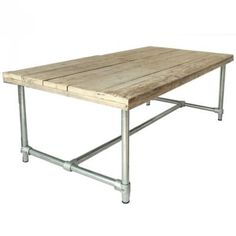 240cm DESIGN Esszimmertisch Bauholz & Stahlrohr Esstisch Esszimmer Tisch
