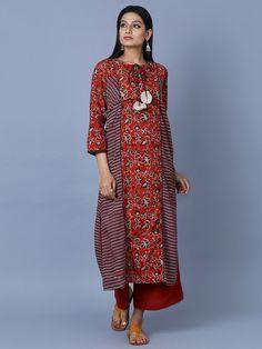 Red Brown Cotton Hand Block Printed Long Kurta