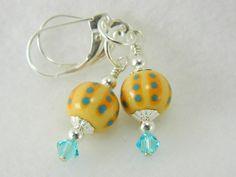 Vera Bradley like handmade porcelain bead earrings, sterling silver   Lundela - Jewelry on ArtFire  http://www.artfire.com/ext/shop/studio/Lundela