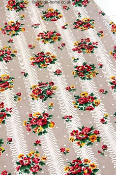 Vintage Home Shop - Gorgeous 1940s Posy and Feather Stripe Barkcloth: www.vintage-home.co.uk