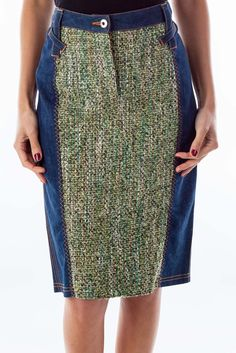Fashionable skirts for all events blue denim & tweed pencil skirt by D&G #silkroll