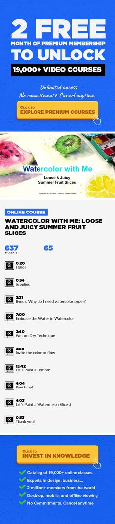 Watercolor with Me: Loose and Juicy Summer Fruit Slices Illustration, Color Theory, Watercolors, Painting, Fine Art, Color, Creative #onlinecourses #thingstolearning #onlinecoursesfree    Hi, I'mJessica Sanders, a self-taught mixed media artist who loves exploring art and sharing it with you! In this beginner watercolor class, I will show you my loose and free style for painting with watercolo...