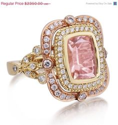 20% OFF SALE Morganite  Ring 18kt Pink & Yellow Gold Long Cushion Cut Pink 8x10mm MORGANITE Engagement Double Halo Victorian Diamond Ring by PristineCustomRings on Etsy https://www.etsy.com/listing/195959913/20-off-sale-morganite-ring-18kt-pink