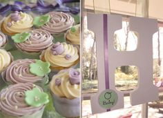 Lavender and Mint Green Cupcakes, cute for a shower