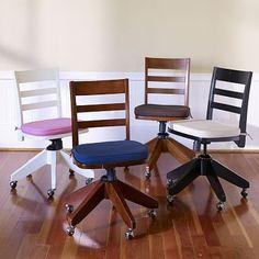 Swivel Desk Chair + Cushion #pbteen (getting the white chair with grey cushion)