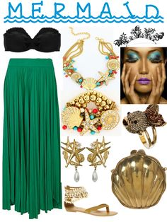 adult mermaid costume diy | costume you could put together.... I would want a tank top instead of just the bra top, but the jewelry is really fun and I could see this working for Halloween.  The green skirt would be wearable at other times.