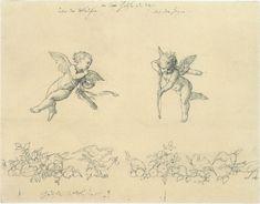 Vintage Ephemera: Drawing of cherubs or cupids by Julius Schnorr von Carolsfeld, 185 Cupid Drawing, Angel Drawing, Cupid Tattoo, Cherub Tattoo, Bff Tattoos, Future Tattoos, Vintage Illustration, Etiquette Vintage, Photocollage