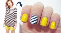 Loving this nail art: j.crew stripes Norman (Glitter, She Wrote) Navy Nail Art, Navy Nails, Striped Nails, Cute Nails, Pretty Nails, Spring Hairstyles, Homemade Beauty Products, Beauty Nails, How To Do Nails