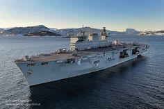 HMS Ocean at anchor during Exercise Cold Response.