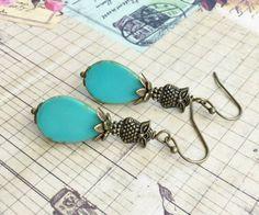 Turquoise Earrings Green Earrings Owl Earrings by SmockandStone