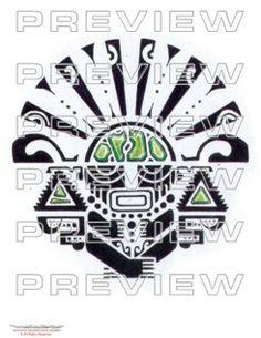 amazing precolumbian tribal priest tattoo design