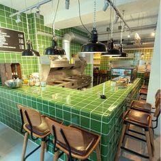 Green DTILE tiles at Gare du Sud Utrecht designed byhellip Brick Restaurant, Architecture Restaurant, Restaurant Interior Design, Utrecht, Belgium Hotels, Glazed Brick, Orange Kitchen, Industrial Interiors, Hotel Interiors