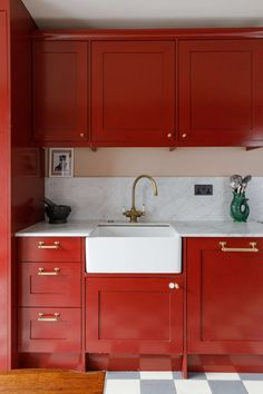 Kitchen of the Week: Going Big with Color in a Small Space - Remodelista Huge Kitchen, Red Kitchen, Kitchen Ideas, Vinyl Record Shop, Vintage Armoire, Ground Floor Plan, Door Furniture, Steel Doors, Marble Countertops