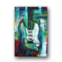 Guitar Painting Large Abstract Art Original Painting on Canvas Textured Multi Colored Painting Contemporary Art 36x24 by Heather Day. $195.00, via Etsy.