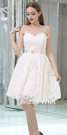 Beautiful Lace A-line Sweetheart Homecoming Dress – bridalswish Elegant White Half Sleeve Lace Round Neck Homecoming Dresses, Belt Ankle Knee Prom Dress on sale Lace Homecoming Dresses, Evening Dresses, Homecoming Ideas, Graduation Dresses, Wedding Dresses, Spring Dresses, Short Dresses, Maxi Dresses, Formal Dresses