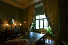Dining Room - one moves directly into the dining room with its large bay windows and dining room table. Ghost House, New Hospital, Dining Room Table, Victorian Fashion, Castle, Bay Windows, Pretoria, Explore, Building