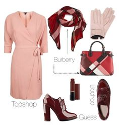 """""""Blush 'n' burgundy"""" by styleability on Polyvore featuring Topshop, Mario Portolano, Burberry, GUESS and Boohoo"""