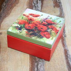 $14,Wooden box 'Poppy flower' More