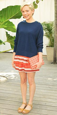 Look of the Day › December 8, 2013 WHAT SHE WORE At the Louis Vuitton Art Basel Beach Barbecue event, Michelle Williams (in head-to-toe Louis Vuitton) was the epitome of chic, effortlessly styling her stripe tiered skirt with a slouchy blue sweater, the brand's signature checkered clutch and mustard yellow sandals.