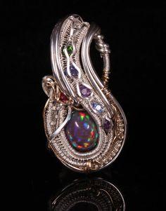 wire wrapped jewelry, (Ethiopian Rainbow), Opal, Tanzanite, Amethyst, Diopside, Jewelry, beautiful, handmade jewelry by Nick Noyes. $300.00, via Etsy.