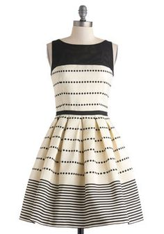 ModCloth April 2014 champagne a-line dress w dark demure sheer neckline, dotted horizontal lines near defined waist, thin black stripes at hem Passion For Fashion, Love Fashion, Womens Fashion, Funky Fashion, Fashion 2020, Striped Bridesmaid Dresses, Wedding Dresses, Cute Dresses, Casual Dresses
