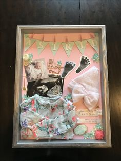 Baby decor girl shadow box Ideas for 2019 Girl Shadow, Diy Shadow Box, Baby Shadow Boxes, Newborn Shadow Box, Baby Girl Born, Baby Box, Baby Memories, Memories Box, Baby Keepsake