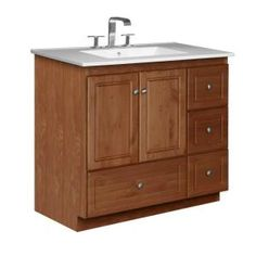 37 in. W x 22 in. D x 35 in. H Vanity in Medium Alder with Ceramic Vanity Top in White-01.912.2 at The Home Depot
