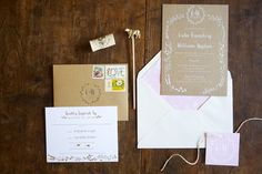 rustic wedding invitations, photo by Lens CAP Photography http://ruffledblog.com/new-england-vineyard-wedding #stationery #weddinginvitations