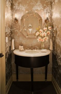 powder room with Venetian glass mirror