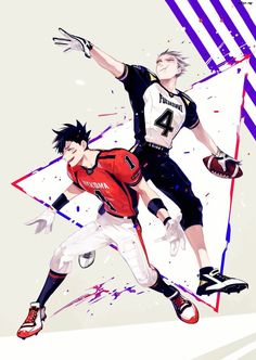 Kuroo and Bokuto as rugby players.