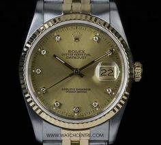 #Rolex Steel & Gold O/Perpetual Champagne #Diamond Dial #Datejust #16233