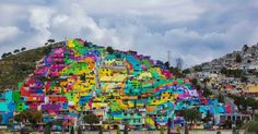 More than 200 homes have been repainted as part of a project intended to foster a greater sense of community - Palmitas in Pachuca, Mexico